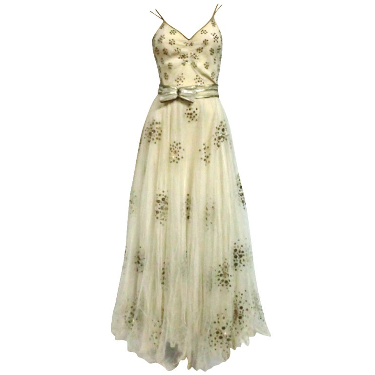 1930s Bergdorf Goodman Silk Tulle, Sequin and Lamé For Sale