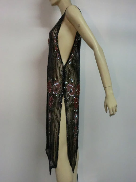 1920s Beaded Tulle Evening Dress with Sequin Floral Garlands 7