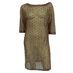 60s Bronze Beaded Tulle Shift Dress