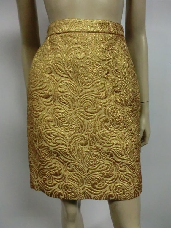 Yves Saint Laurent 80s Gold Brocade Mini Skirt 2