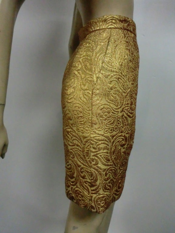 Yves Saint Laurent 80s Gold Brocade Mini Skirt 3