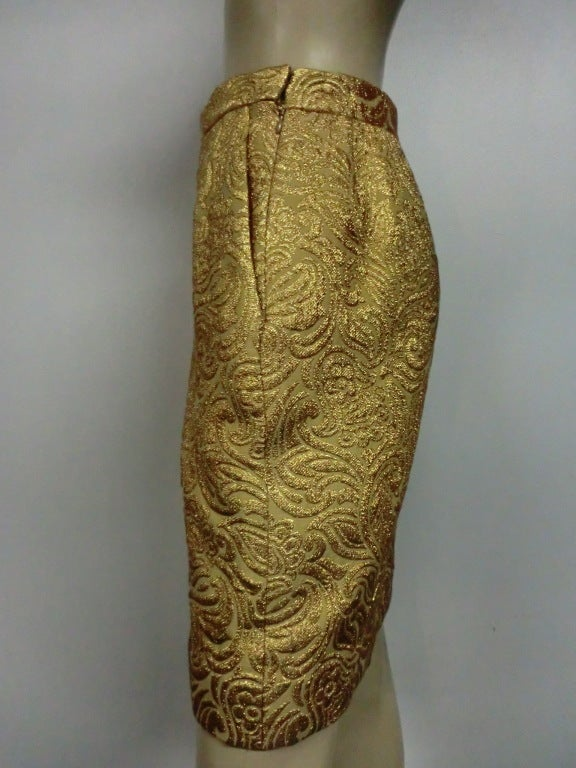 Yves Saint Laurent 80s Gold Brocade Mini Skirt 5