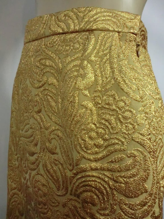Yves Saint Laurent 80s Gold Brocade Mini Skirt 6
