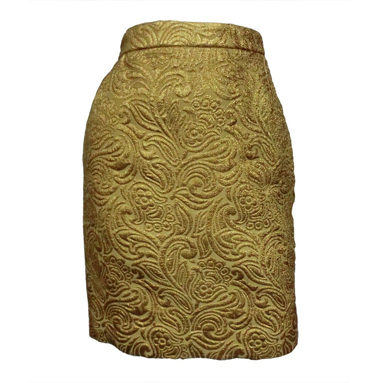 Yves Saint Laurent 80s Gold Brocade Mini Skirt 1