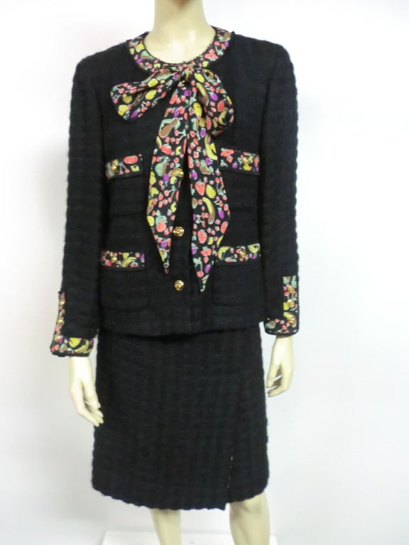 80s Lagerfeld for Chanel Black Boucle Suit with Fruit Trim image 2