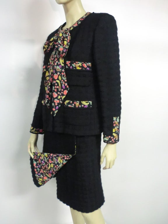 80s Lagerfeld for Chanel Black Boucle Suit with Fruit Trim image 3