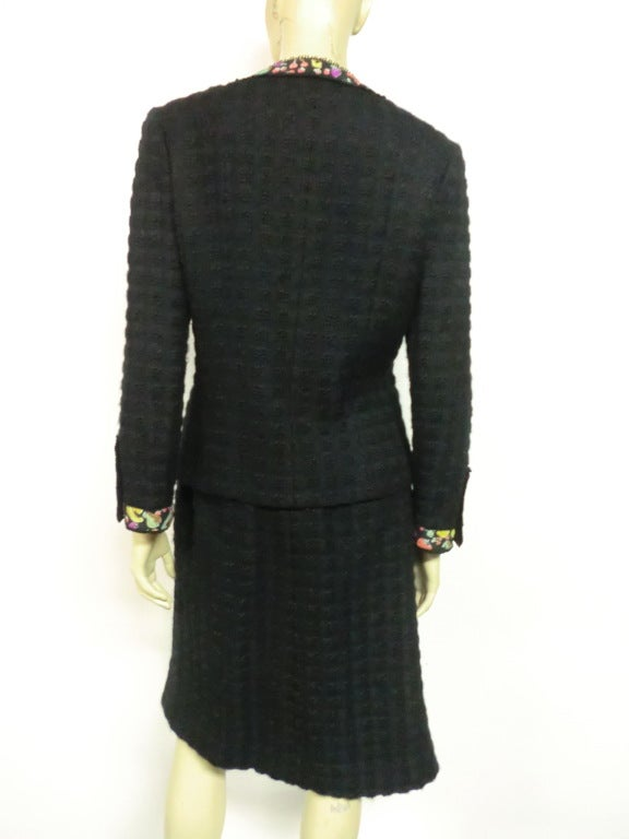 80s Lagerfeld for Chanel Black Boucle Suit with Fruit Trim image 5