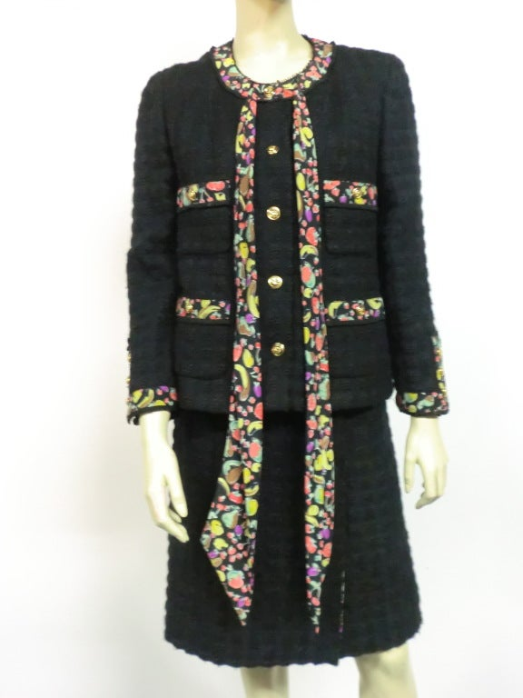 80s Lagerfeld for Chanel Black Boucle Suit with Fruit Trim image 7