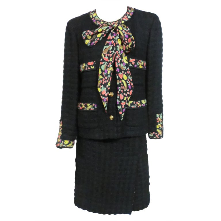 80s Lagerfeld for Chanel Black Boucle Suit with Fruit Trim