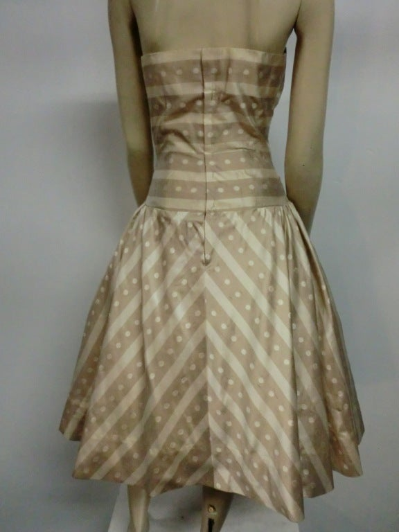 50s Irene Silk Summer Dress in Stripes and Dots 4