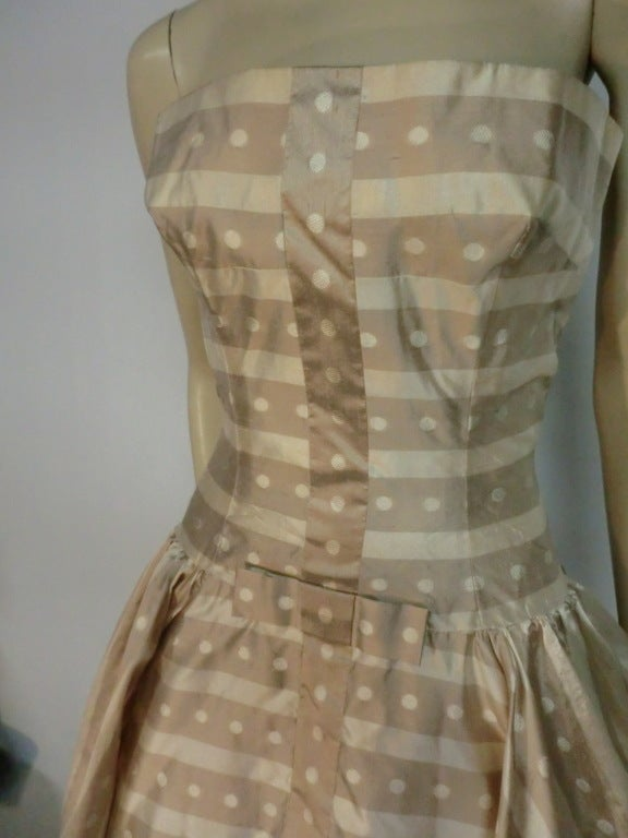 50s Irene Silk Summer Dress in Stripes and Dots 5