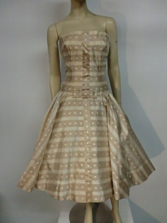 50s Irene Silk Summer Dress in Stripes and Dots 2