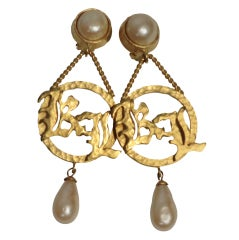 "Karl Lagerfeld 80s ""KL"" Monogram and Faux Pearl Clip Earrings"