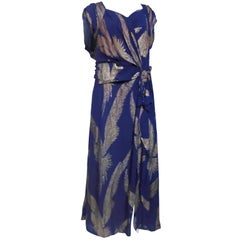 Early 40s Lamé and Crepe Gown with Winged Bird Motif in Purple