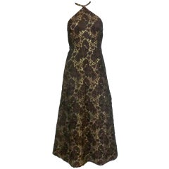 60s Silk Lamé Brocade Halter Maxi Dress