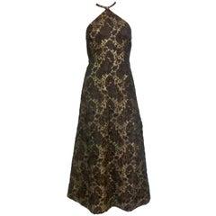 60s Silk Lamé Brocade Halter Maxi Dress
