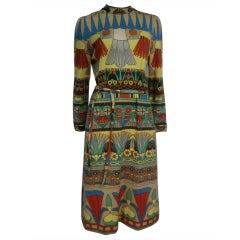 60s Goldworm Egyptian Revival Print Jersey Dress w/ Belt