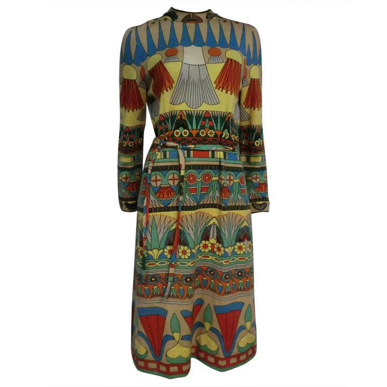 60s Goldworm Egyptian Revival Print Jersey Dress w/ Belt For Sale