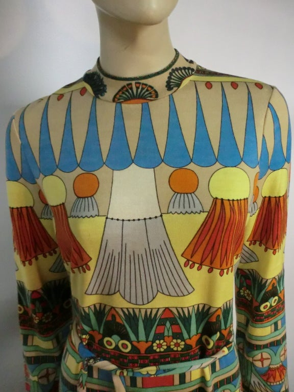 60s Goldworm Egyptian Revival Print Jersey Dress w/ Belt For Sale 1