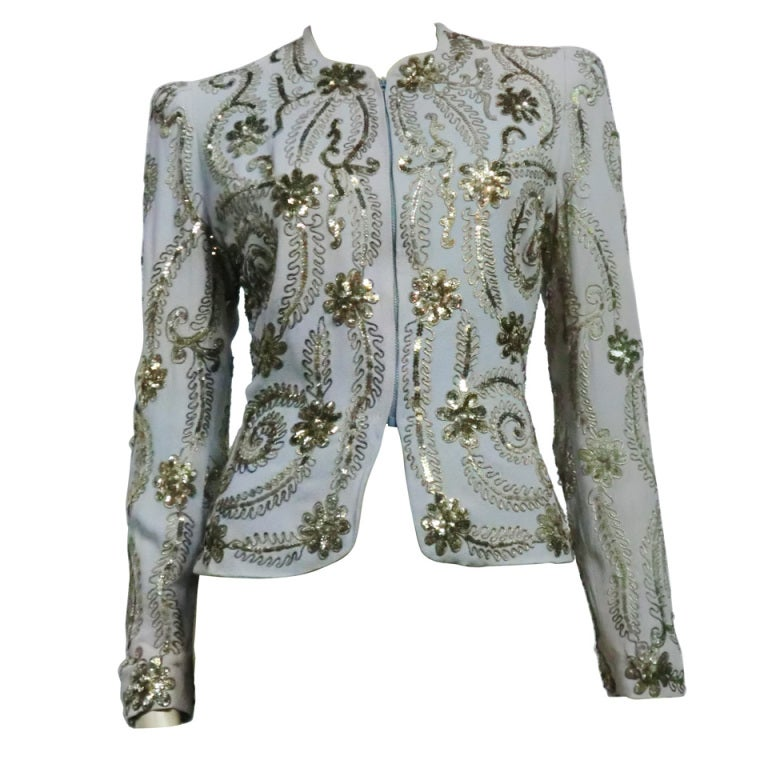 40s Steel Blue Crepe Evening Jacket with Floral Sequins at