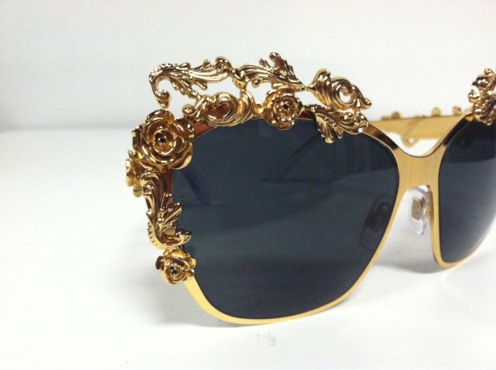 Women's Dolce & Gabbana Gold Plated Floral Embellished Sunglasses - Mint For Sale