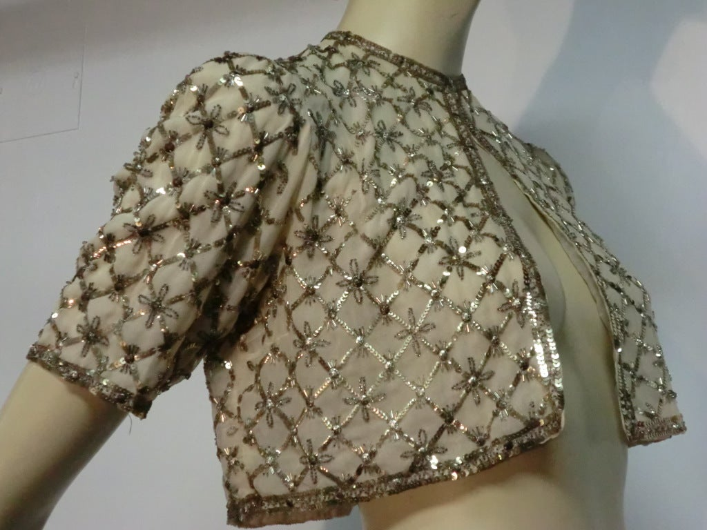 Women's 40s Sequined and Embroidered Evening Bolero Jacket For Sale