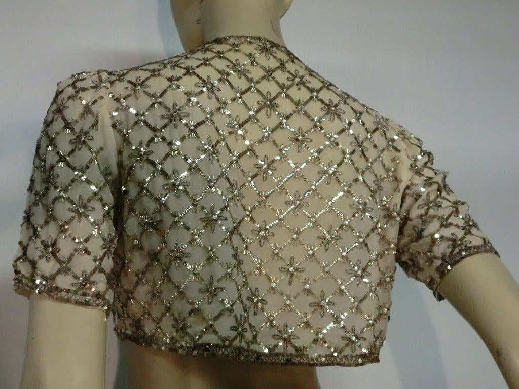 40s Sequined and Embroidered Evening Bolero Jacket For Sale 1