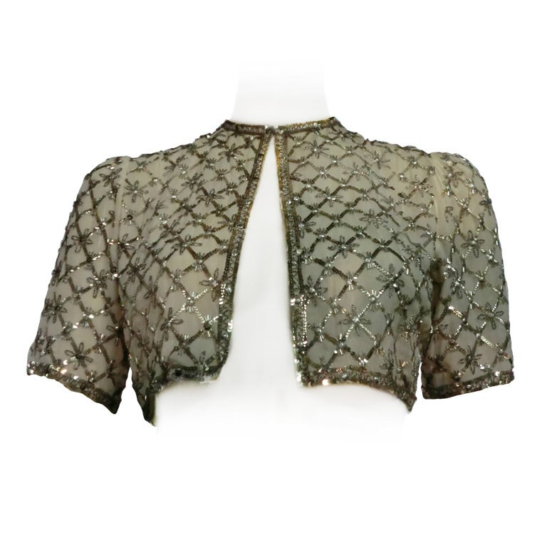40s Sequined and Embroidered Evening Bolero Jacket For Sale