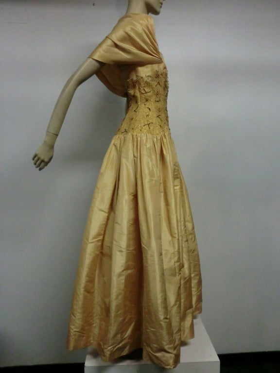 Brown 50s Tissue Silk Gown w/ Embroidery & Beaded Bodice For Sale