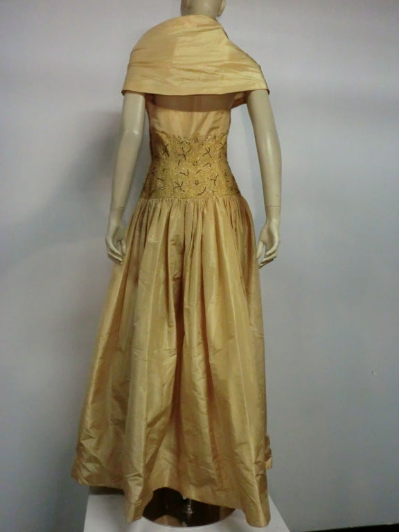 Women's 50s Tissue Silk Gown w/ Embroidery & Beaded Bodice For Sale