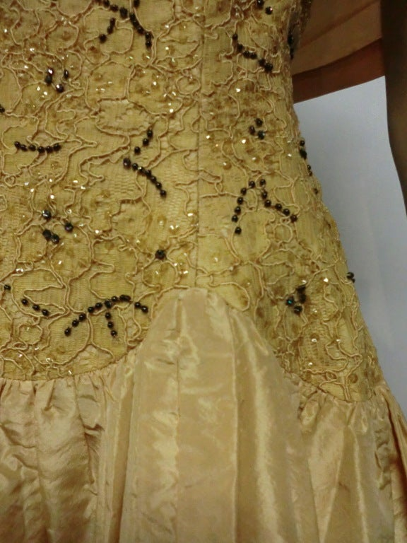 50s Tissue Silk Gown w/ Embroidery & Beaded Bodice For Sale 1