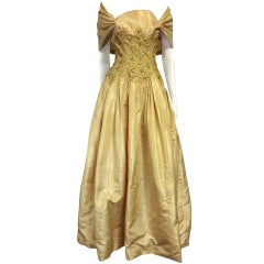 50s Tissue Silk Gown w/ Embroidery & Beaded Bodice