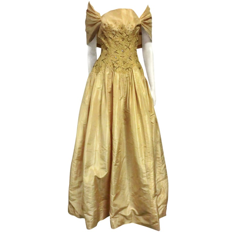 50s Tissue Silk Gown w/ Embroidery & Beaded Bodice For Sale
