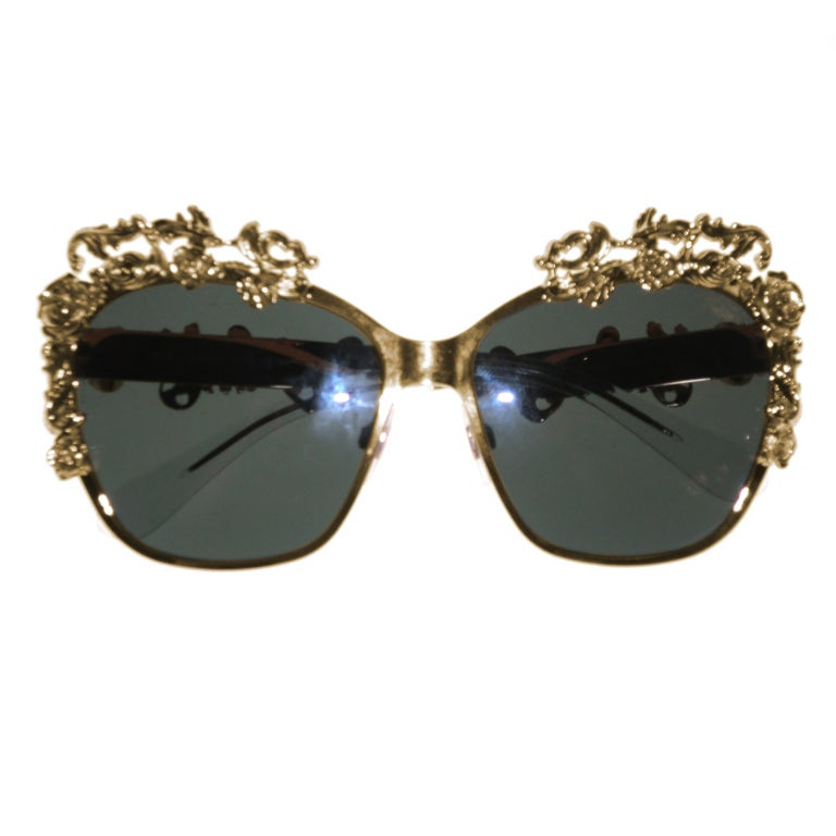 Dolce & Gabbana Gold Plated Floral Embellished Sunglasses - Mint For Sale