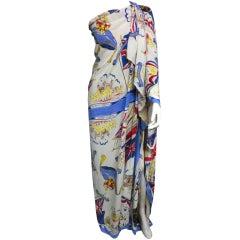 2 Rayon 50s Coronation Print Souvenir Scarves or Tablecloths