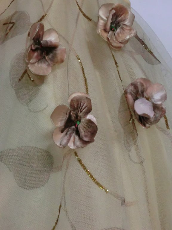 50s Full Tulle Skirt with Silk Flower and Leaf Applique 5