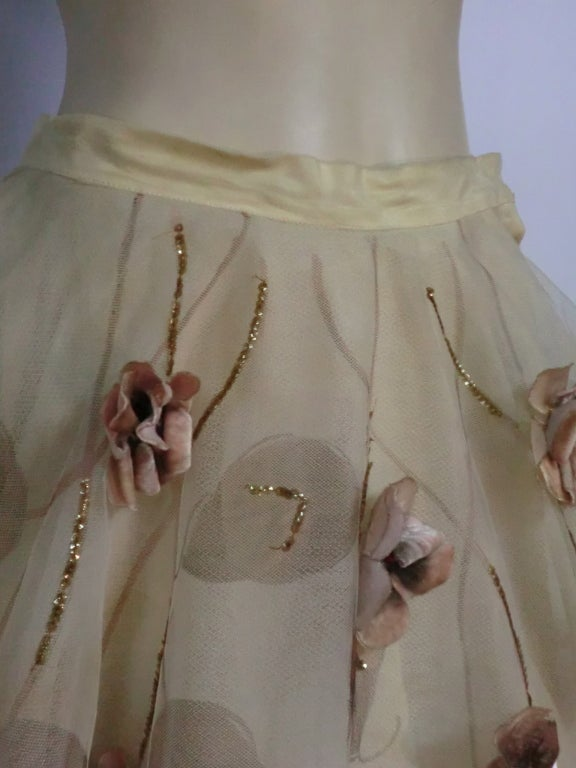 50s Full Tulle Skirt with Silk Flower and Leaf Applique 6