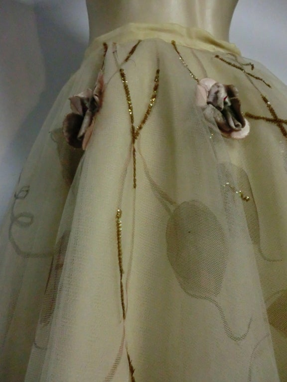 50s Full Tulle Skirt with Silk Flower and Leaf Applique 7