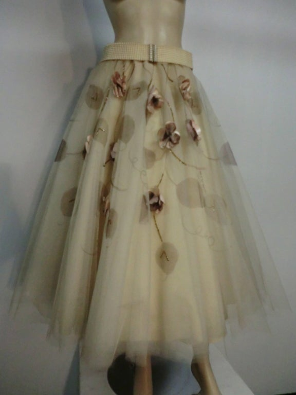 50s Full Tulle Skirt with Silk Flower and Leaf Applique 9