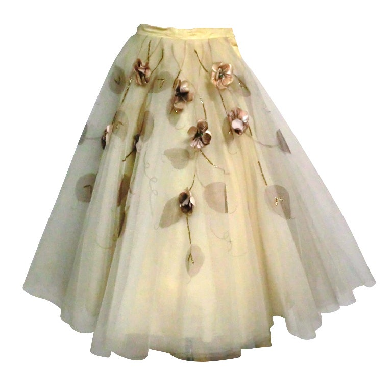 50s Full Tulle Skirt with Silk Flower and Leaf Applique 1