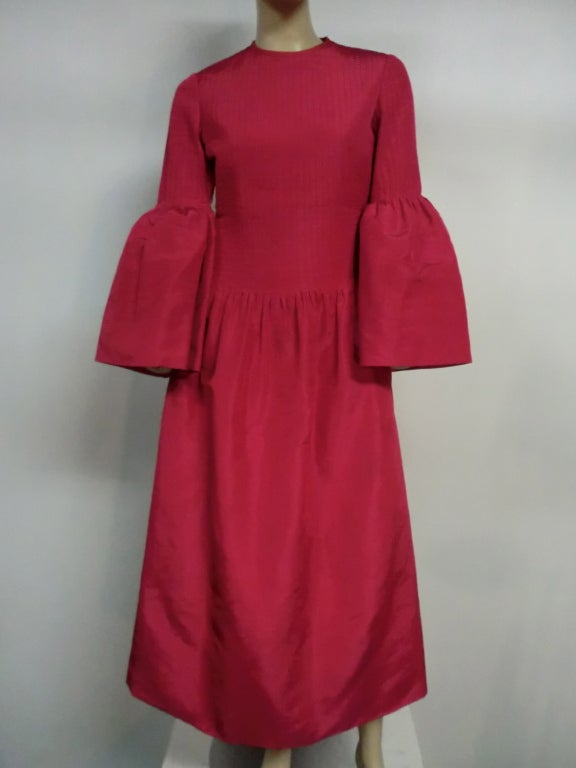 60s Pierre Cardin Fuchsia Taffeta Gown with Pleating image 2