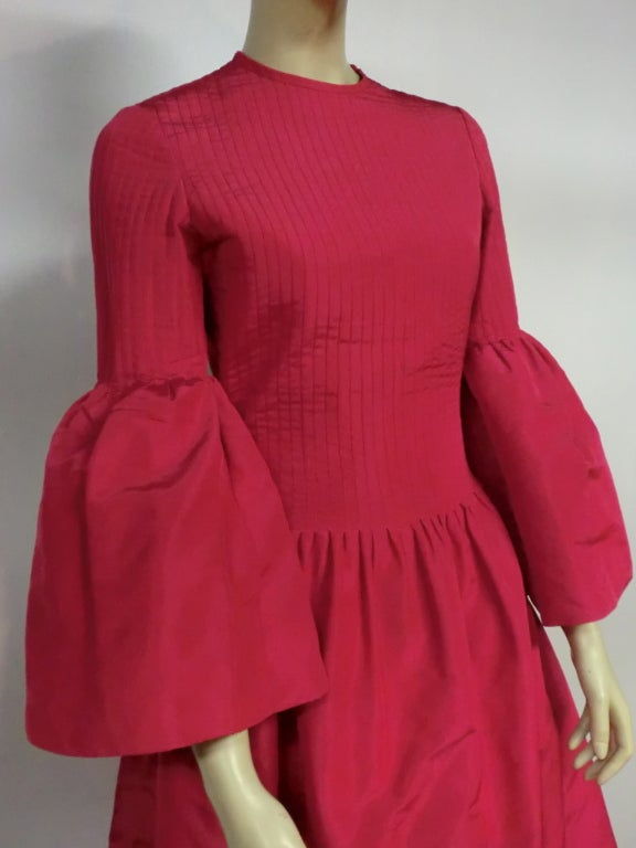 60s Pierre Cardin Fuchsia Taffeta Gown with Pleating image 3
