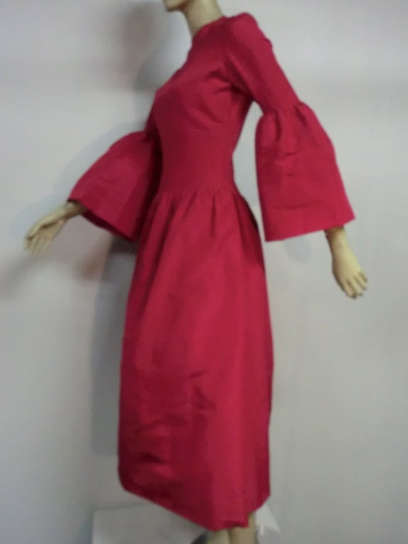 60s Pierre Cardin Fuchsia Taffeta Gown with Pleating image 4