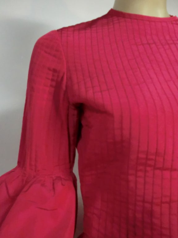 60s Pierre Cardin Fuchsia Taffeta Gown with Pleating image 6