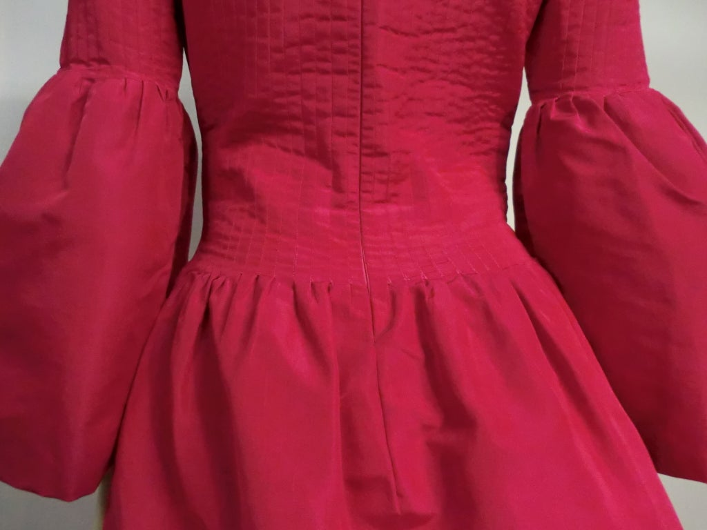 60s Pierre Cardin Fuchsia Taffeta Gown with Pleating image 7