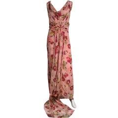 30s Henri Bendel Couture Silk Chiffon Draped Floral Print Gown