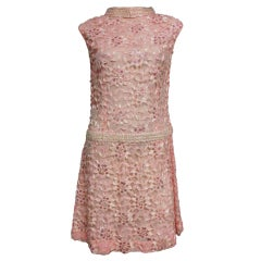 1960s Beaded and Embroidered Lace Shift Dress