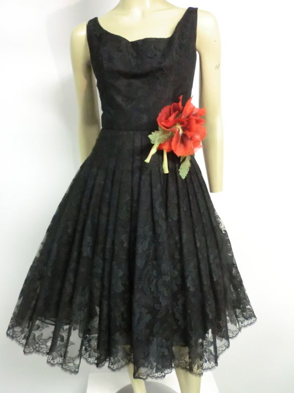 50s Arnold Scaasi Silk Lace Party Dress w/ Full Skirt 2