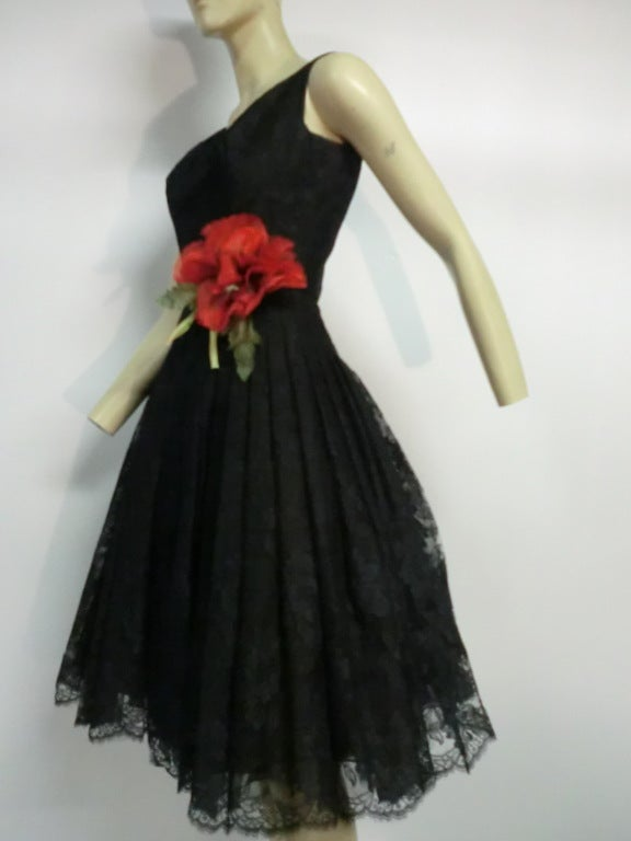 50s Arnold Scaasi Silk Lace Party Dress w/ Full Skirt 3