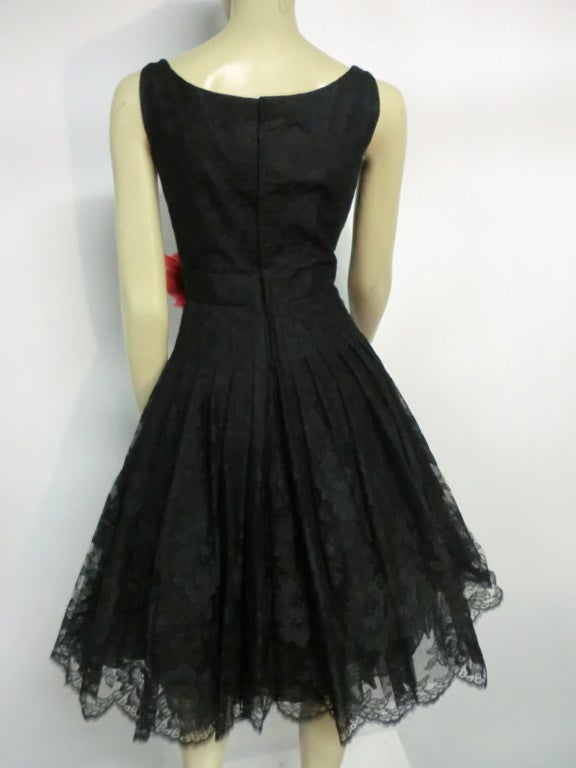 50s Arnold Scaasi Silk Lace Party Dress w/ Full Skirt 4